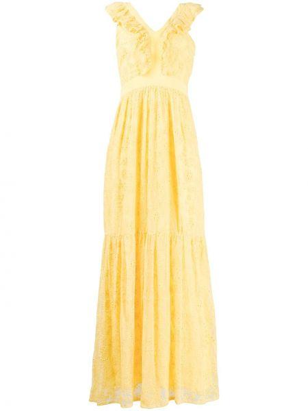 Платье макси с цветочным принтом с V-образным вырезом Liu Jo