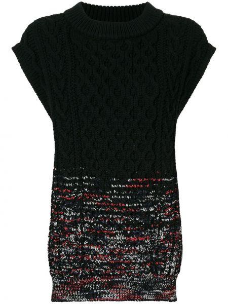 Шерстяной черный свитер в рубчик с круглым вырезом Coohem