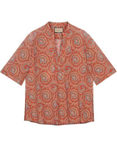 Pomarańczowa koszula krótki rękaw bawełniana Gucci