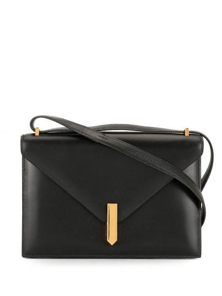 Золотистая черная кожаная сумка на плечо Hermes