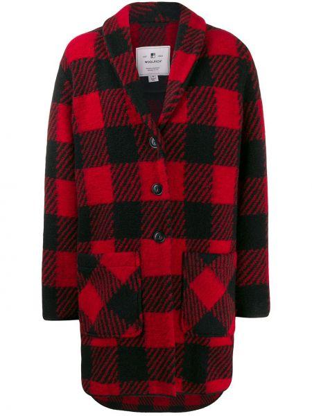 Красное шерстяное длинное пальто с капюшоном Woolrich