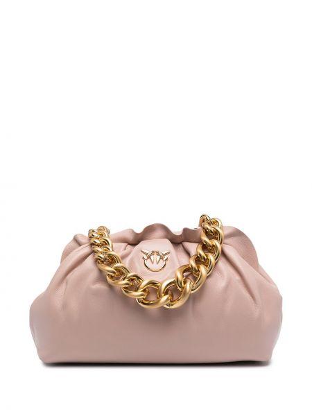 Розовая сумка металлическая на молнии Pinko