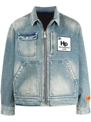 Шерстяная синяя джинсовая куртка на молнии Heron Preston