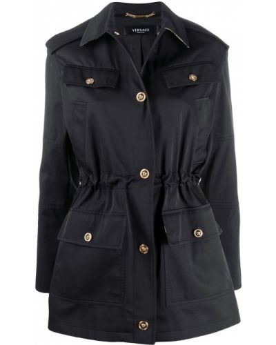 Шелковый черный пиджак на пуговицах Versace