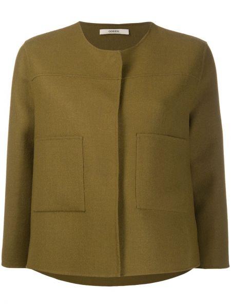Зеленый шерстяной короткая куртка с потайной застежкой Odeeh