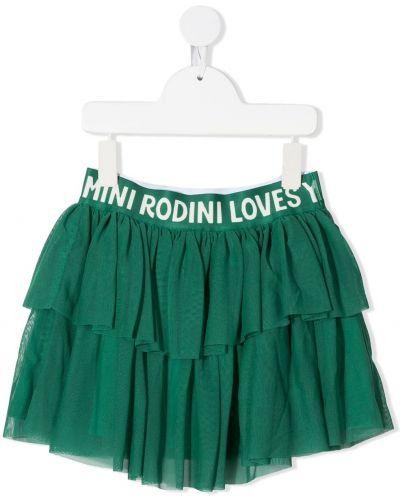 Брендовая зеленая юбка мини с поясом Mini Rodini