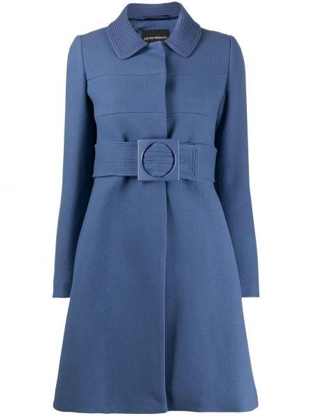 Синее шерстяное пальто классическое с поясом с воротником Emporio Armani