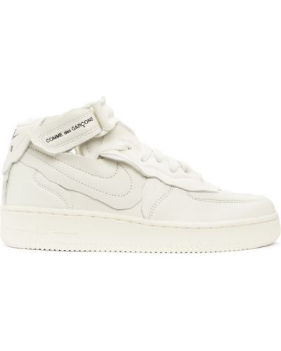 Biały wysoki sneakersy okrągły nos zasznurować perforowany Comme Des Garcons