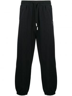 Czarne spodnie bawełniane z haftem Drole De Monsieur