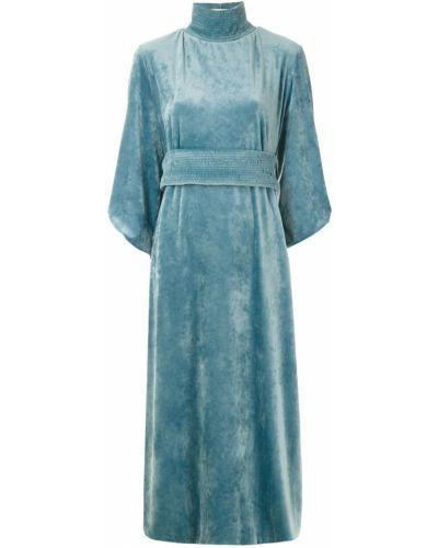 Платье с завышенной талией синее Framed