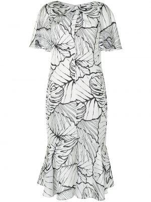 Шелковое платье миди - белое Marchesa Notte