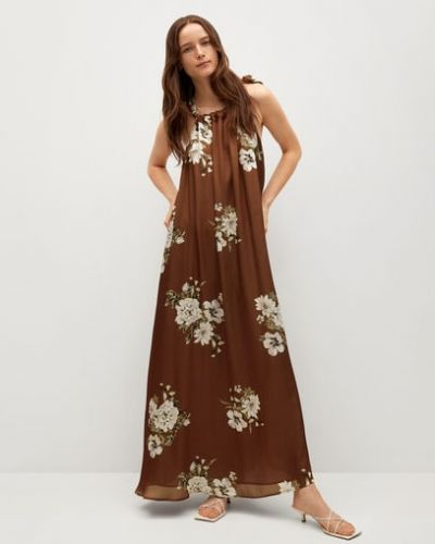 Расклешенное коричневое платье макси без рукавов Mango