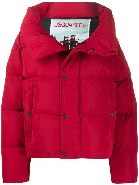 Красное стеганое пальто оверсайз с воротником на молнии Dsquared2