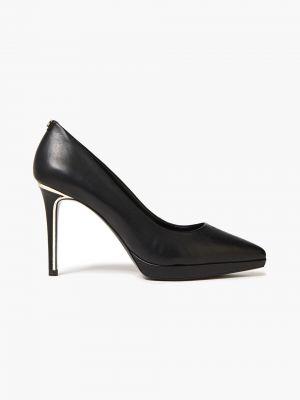 Черные кожаные туфли-лодочки на платформе Dkny