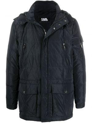Синее длинное пальто с капюшоном с воротником Karl Lagerfeld