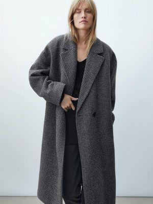 Серое пальто осеннее Massimo Dutti