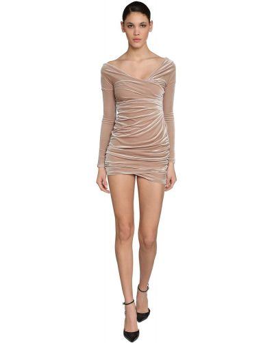 Sukienka mini z długimi rękawami z aksamitu Alexandre Vauthier