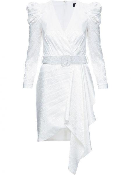 Белое с рукавами платье с рукавами с V-образным вырезом с оборками Patbo