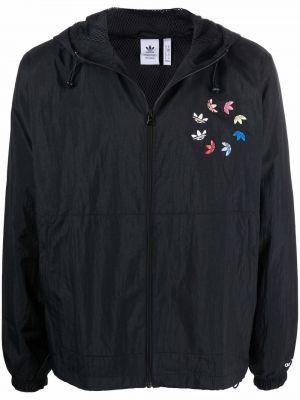 Черная куртка с вышивкой Adidas