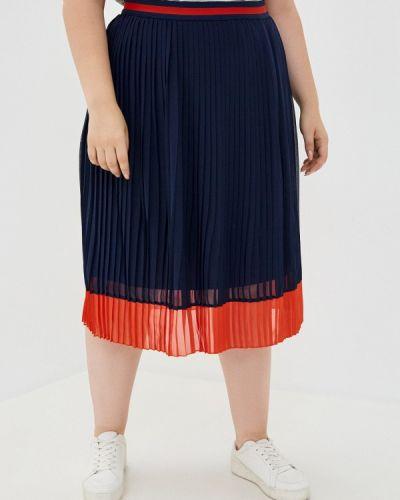 Плиссированная синяя плиссированная юбка Ulla Popken