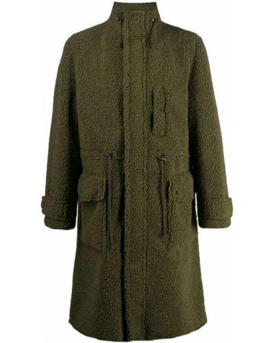 Зеленое пальто с воротником с карманами из овчины Stand