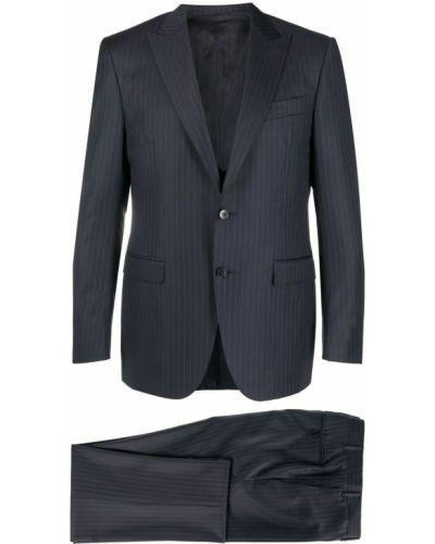 Синий деловой шерстяной костюм-тройка Canali