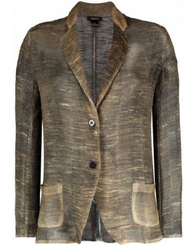 Хлопковый зеленый удлиненный пиджак на пуговицах Avant Toi