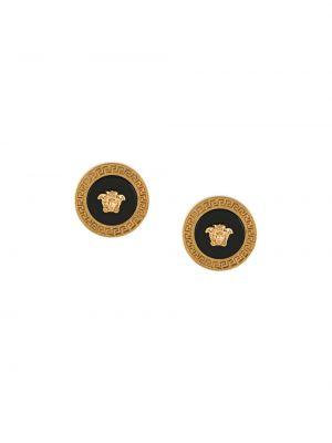 Klasyczne czarne złote kolczyki sztyfty Versace