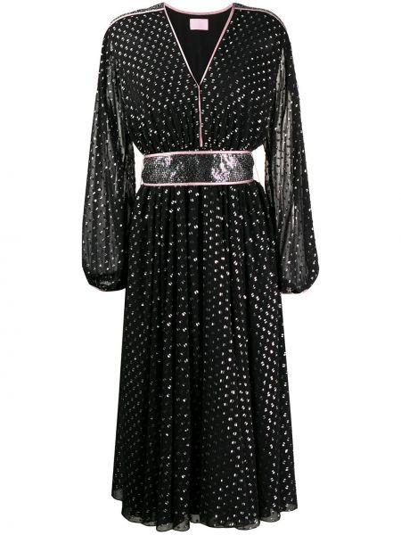 Czarna sukienka rozkloszowana z haftem Giamba