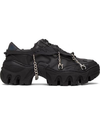 Czarne sneakersy skorzane na obcasie Rombaut
