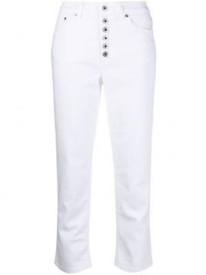 С завышенной талией хлопковые белые укороченные брюки Dondup