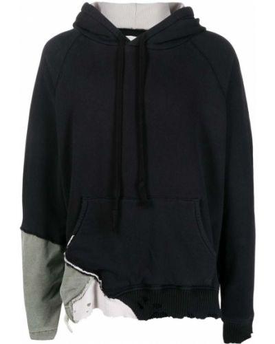 Czarna bluza długa z kapturem bawełniana Greg Lauren
