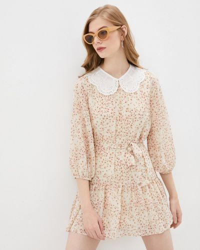 Бежевое платье а-силуэта Pinkkarrot