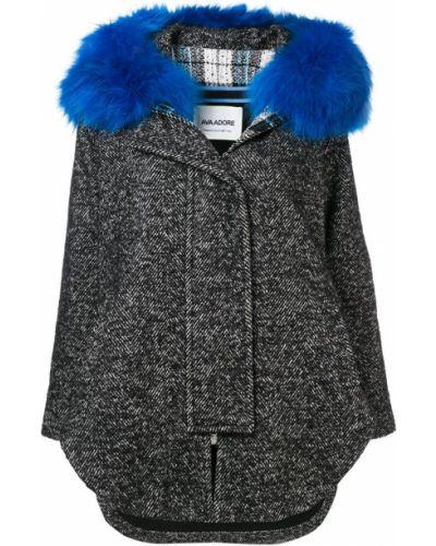 Черное длинное пальто с капюшоном Ava Adore
