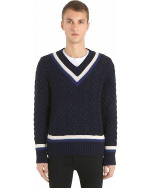 Niebieski sweter wełniany w paski Kent & Curwen