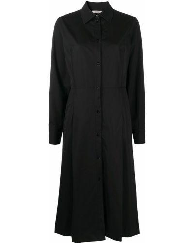 С рукавами черное платье миди с воротником Nina Ricci