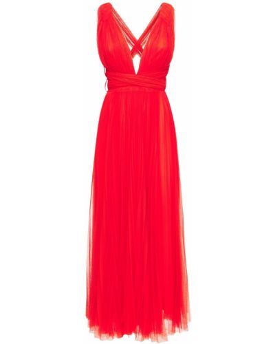 Платье миди из фатина - красное Maria Lucia Hohan