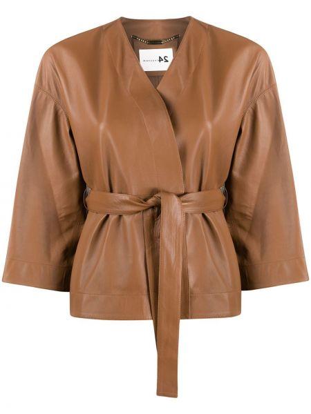 Коричневая кожаная короткая куртка с поясом Manzoni 24
