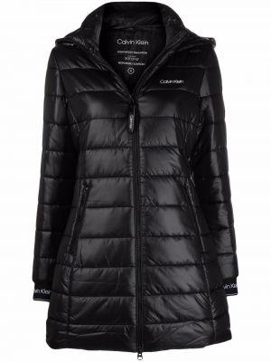 Черное полупальто с капюшоном Calvin Klein
