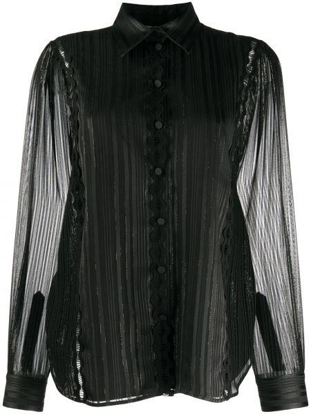 Черная классическая блузка с длинным рукавом с воротником на пуговицах Ports 1961