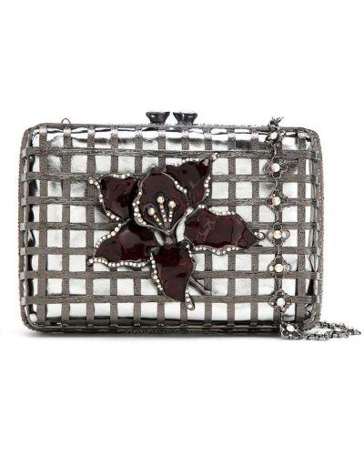 С ремешком серебряная сумка на цепочке металлическая Isla
