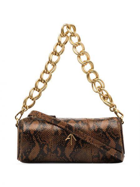 С ремешком коричневая сумка на цепочке из натуральной кожи Manu Atelier