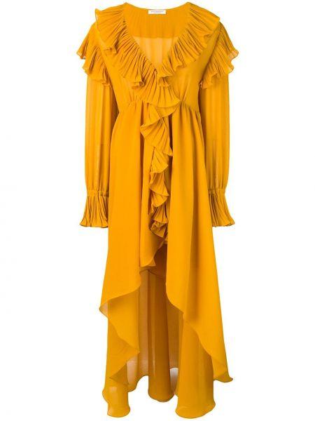 Платье с поясом с V-образным вырезом с оборками Philosophy Di Lorenzo Serafini