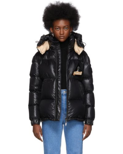 Куртка с капюшоном черная длинная Moncler