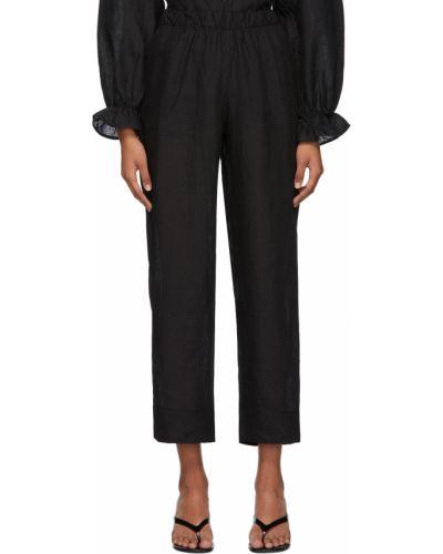 Czarne lniane spodnie Le Petit Trou