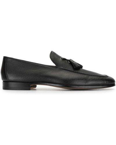 Кожаные черные лоферы с кисточками на каблуке Magnanni