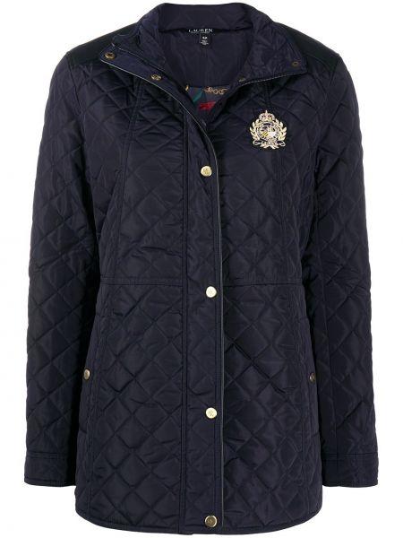 Прямая синяя стеганая куртка на молнии с воротником Lauren Ralph Lauren