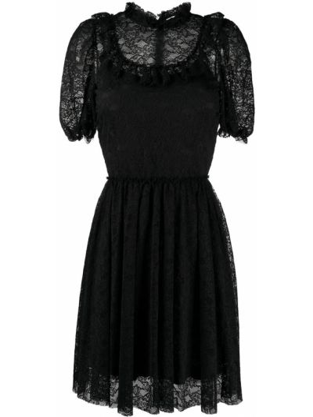 Czarna sukienka mini koronkowa sznurowana Redvalentino