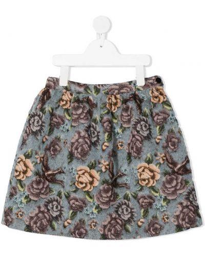 Серая шерстяная юбка в цветочный принт Il Gufo