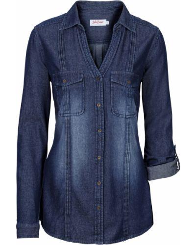 Блузка с длинным рукавом синяя Bonprix
